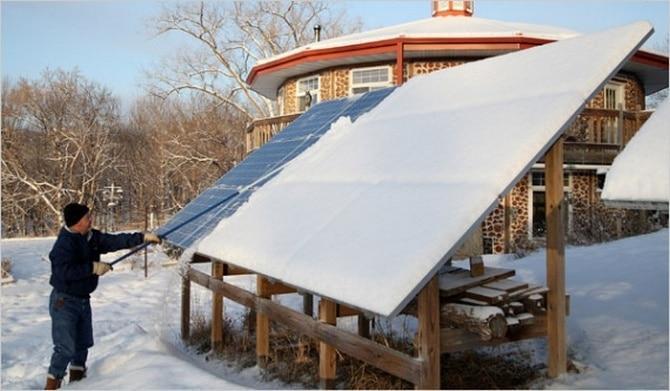 Солнечная батарея зимой
