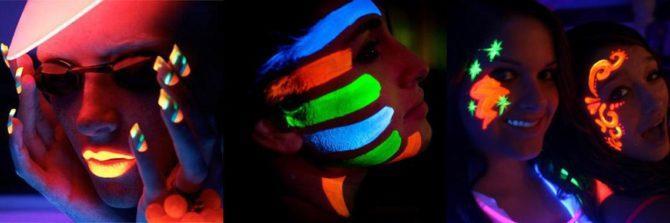 Нанесение флуоресцентной краски на тело