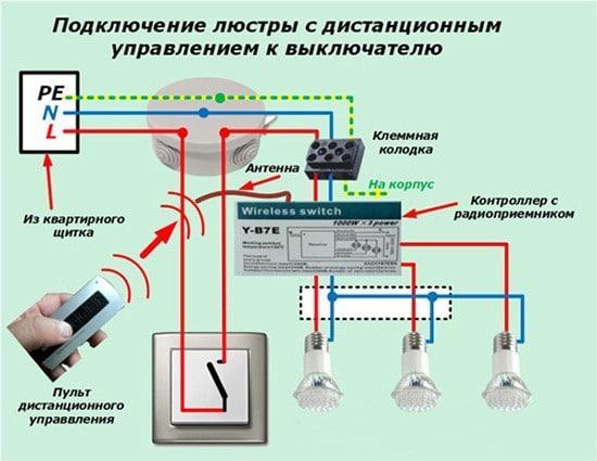 Люстра с пультом управления схема