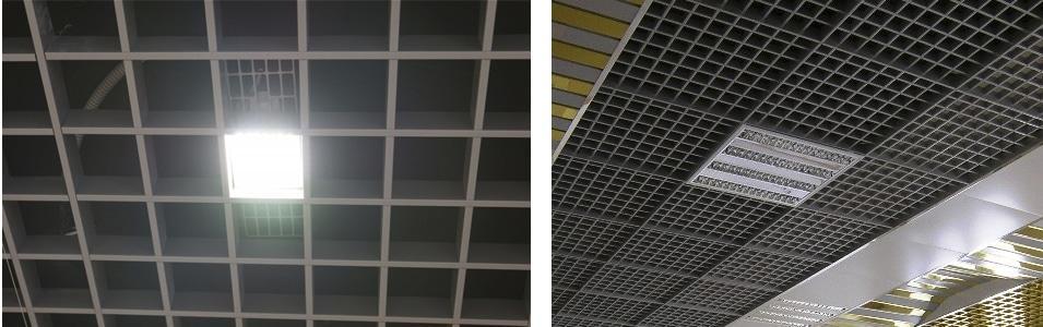 Установка встроенных точечного и растрового светильников стандартных размеров не составит особого труда
