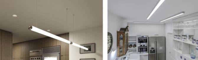 Потолок, линейные светильники