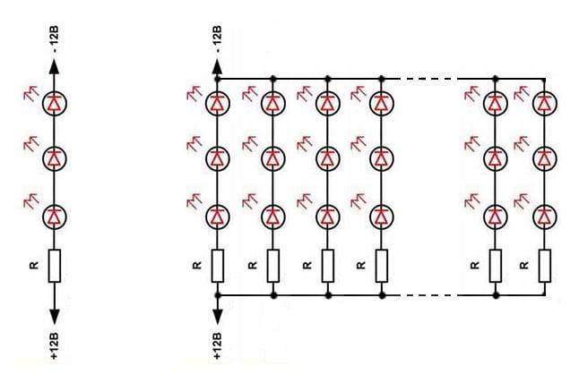 схема одной секции и всей светодиодной ленты
