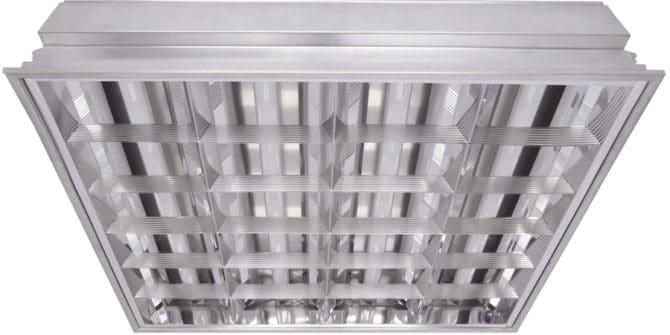 Растровый встраиваемый потолочный светильник с четырьмя полупроводниковыми осветителями т8 10 Вт 600 мм