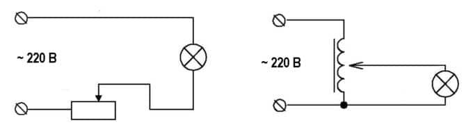 Использование реостата и автотрансформатора