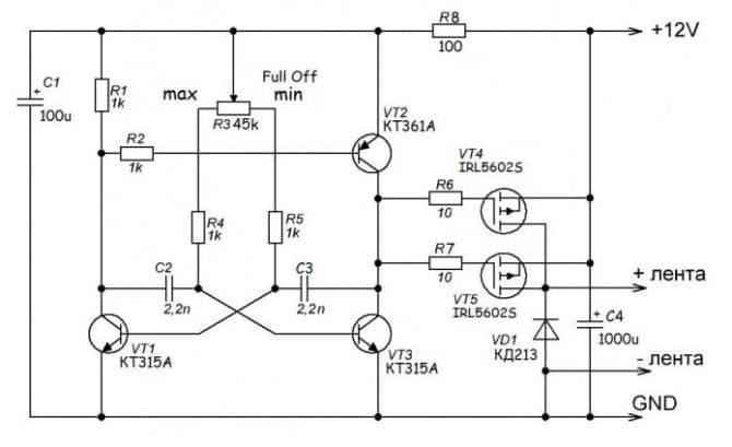 светорегулятор на полевых транзисторах