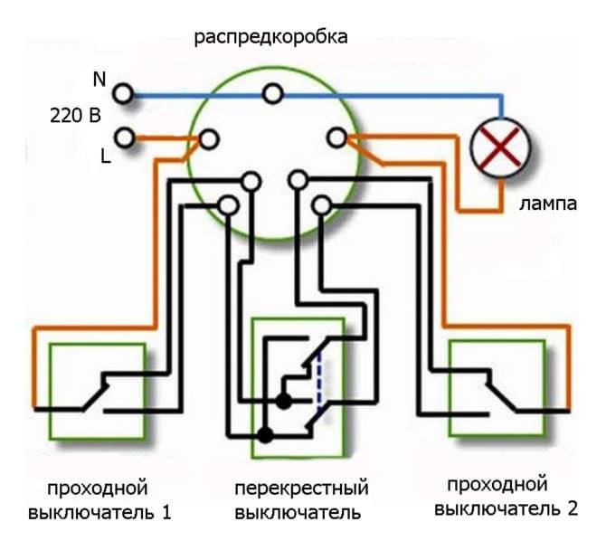 Практическая схема для тройного выключателя
