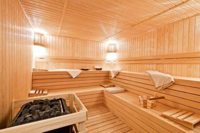 Светильник в бане, украшение интерьера