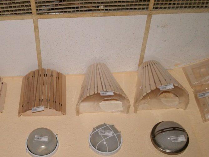 светильники для бани, деревянные абажуры