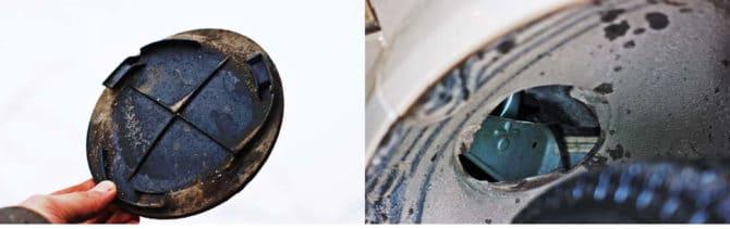 Пластиковая крышка лючка и отверстие