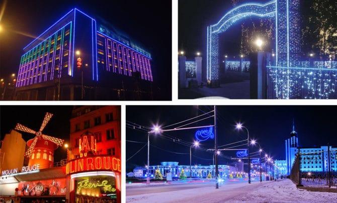 Подсветка фасадов неоновыми лампами