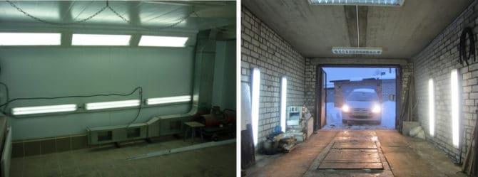 нижние светильники в гараже
