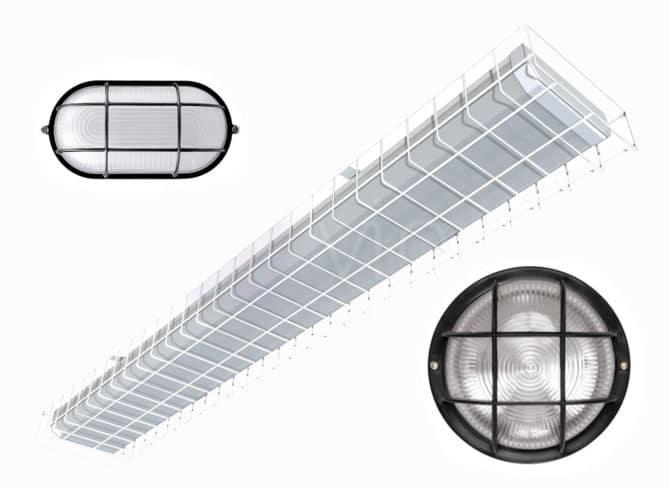 Светильники с защитной решеткой
