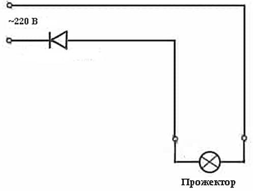 Схема включения через диод