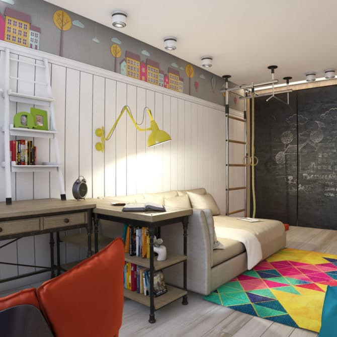 кабинет с точечными светильниками для мальчика
