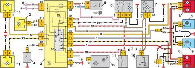 схема световых приборов ВАЗ 2114