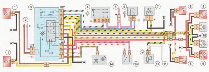 схема освещения ВАЗ 2112
