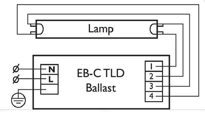 Схема подключения люминесцентного источника