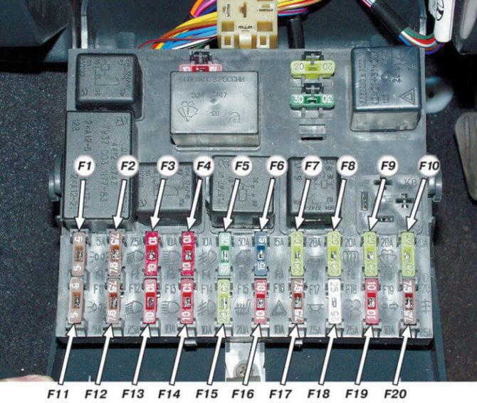Схема предохранителей в блоке ВАЗ 2110