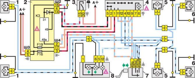 схема сигналов поворота ВАЗ 2112