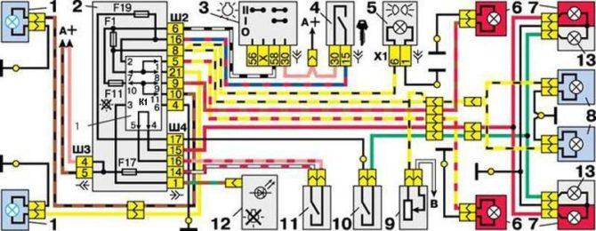 схема внешних световых приборов ВАЗ 2112