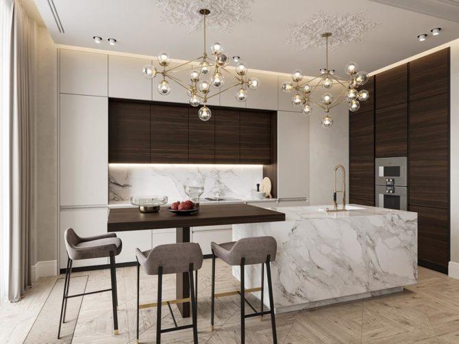 Выбираем потолочные светильники и люстры в стиле модерн для кухни