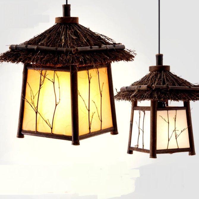 Бамбуковый подвесной фонарь
