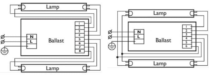 схема ЭПРА для двух ламп