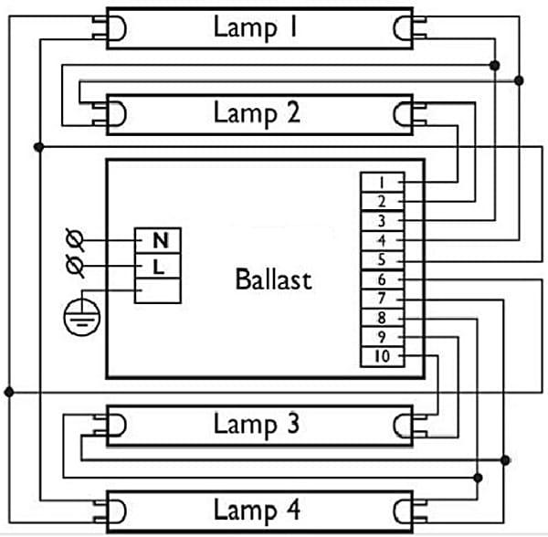 Схема подключения балласта