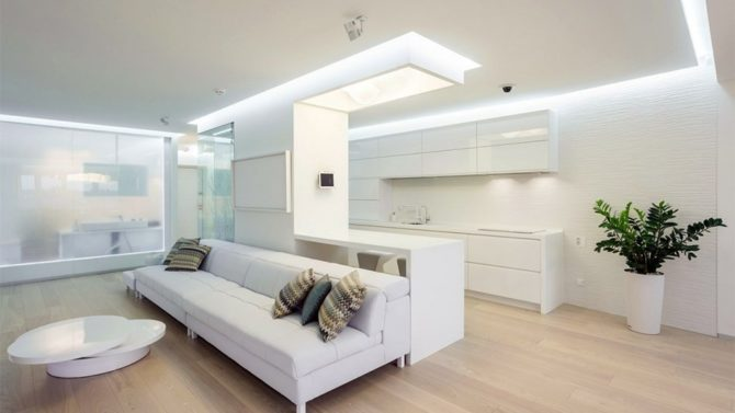 Идеи дизайна освещения для кухни совмещенной с гостиной