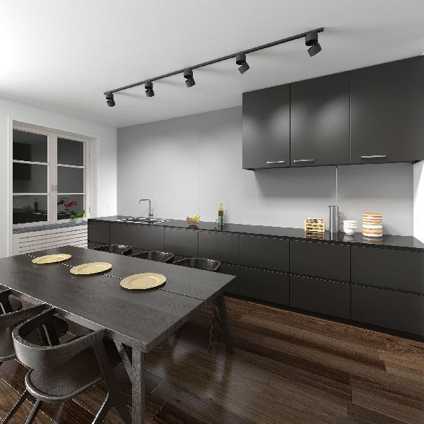 Освещение кухни-гостиной трековыми светильниками